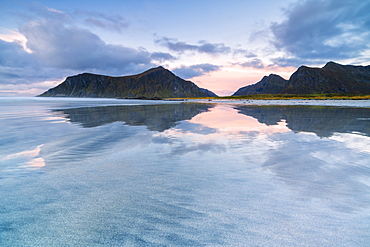 Skagsanden beach at sunset in Lofoten Islands, Norway, Europe
