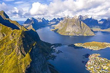 Mountains surrounding Reine in Moskenes, Norway, Europe