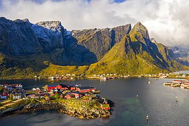 Town under mountains in Reine, Moskenes, Norway, Europe