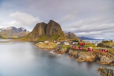 Town of Hamnoy by Festhelltinden mountain in Moskenes, Norway, Europe