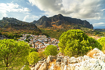White town of Montejaque by mountains in Serrania de Ronda, Spain, Europe