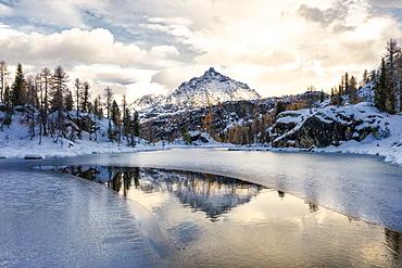 Frozen Lake Mufule by Sasso Moro in Sondrio, Italy, Europe