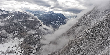 Mountains covered in snow in Valtellina, Italy, Europe