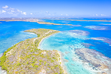 Aerial view by drone of coral reef in the turquoise water of Caribbean Sea, Antilles, West Indies, Caribbean, Central America