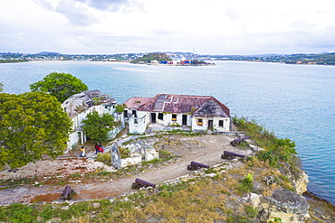 Aerial view of ruins of buildings at Fort James, St. John's, Antigua and Barbuda, Leeward Islands, West Indies, Caribbean, Central America