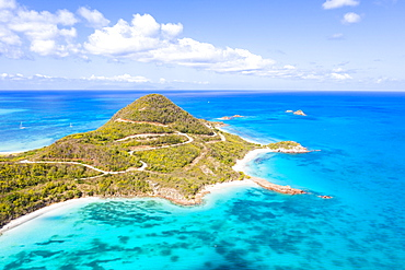 Aerial view by drone of Hermitage Bay and Pearns Point, Antigua, Antigua and Barbuda, Leeward Islands, West Indies, Caribbean, Central America