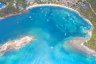 Aerial view of boats in the blue Caribbean Sea next to Galleon beach, Antigua, Antigua and Barbuda, Leeward Islands, West Indies, Central America