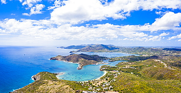 Aerial panoramic by drone of Galleon beach and English Harbour, Antigua, Antigua and Barbuda, Leeward Islands, West Indies, Caribbean, Central America