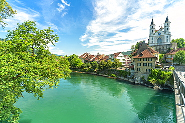Neo-Gothic church on hilltop along Aare River, Aarburg, Canton of Aargau, Switzerland, Europe