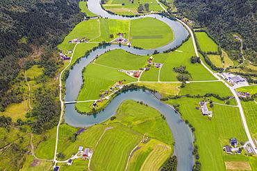 Aerial view of the winding course of Stryneelva river, Stryn, Nordfjorden, Sogn og Fjordane county, Norway, Scandinavia, Europe