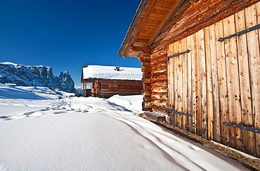 Traditional mountain hut in Seiser Alm, South Tyrol, Dolomites, Italy, Europe