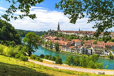 Buildings of the old Schwarzes Quartier on banks of Aare River, Bern, Canton Bern, Switzerland, Europe