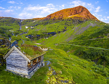 Aerial panorama of Dalsnibba mountain and traditional huts with grass roof, Stranda municipality, More og Romsdal county, Norway, Scandinavia, Europe