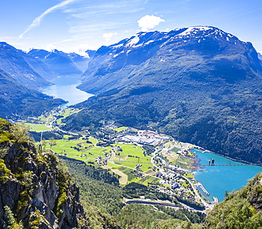 Aerial view of hikers on suspension bridge on Via Ferrata high up above the fjord, Loen, Stryn, Sogn og Fjordane county, Norway, Scandinavia, Europe