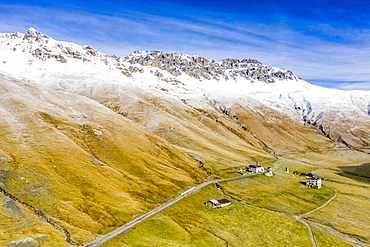 Aerial view by drone of Piz Umbrail and Punta di Rims in autumn, Braulio Valley, Bormio, Sondrio province, Valtellina, Lombardy, Italy, Europe