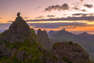 Le Pouce mountain at sunset, aerial view, Moka Range, Port Louis, Mauritius, Africa