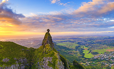 Panoramic of Le Pouce mountain and Pieter Both towards the Indian Ocean sunset, aerial view, Moka Range, Port Louis, Mauritius, Africa