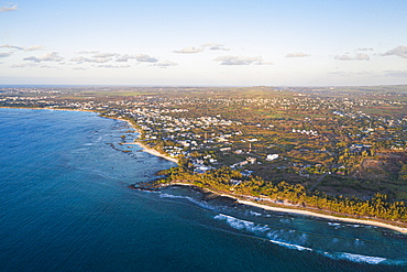 Aerial by drone of tropical beach of Pointe Aux Biches, Trou Aux Biches and Mont Choisy, north-west coast, Mauritius, Indian Ocean, Africa
