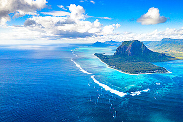 Aerial view of mountain overlooking the ocean, Le Morne Brabant peninsula, Black River district, Mauritius, Indian Ocean, Africa