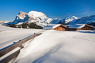 Sleeping huts in Seiser Alm, South Tyrol, Dolomites, Italy, Europe