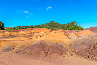 Geological formations shaped as sand dunes, The Seven Colored Earth Geopark, Chamarel, Black River, Mauritius, Indian Ocean, Africa