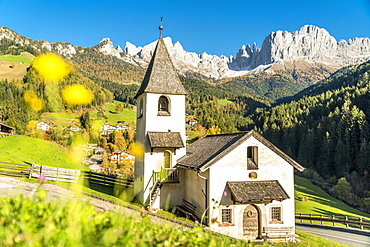 San Cipriano Romanesque Chapel, Tires Valley, Dolomites, South Tyrol, Italy, Europe