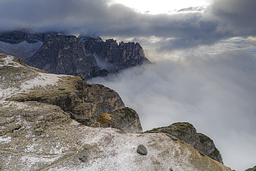 Croda dei Toni mountain and Auronzo Valley in a sea of clouds, Sesto Dolomites, Trentino-Alto Adige/Veneto, Italy, Europe