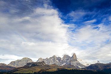 Aerial view of Cimon della Pala, Pale di San Martino (Pala group), Rolle Pass, Dolomites, Trentino, Trento, Italy, Europe