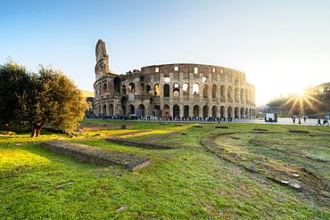 Colosseum at sunrise, UNESCO World Heritage Site, Rome, Lazio, Italy, Europe
