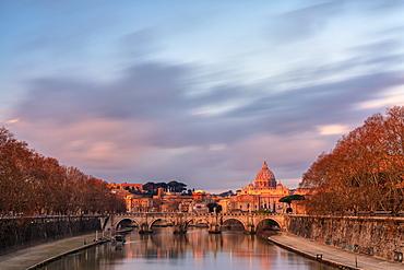 St. Peter's Basilica (Basilica di San Pietro) and River Tiber at sunrise, Rome, Lazio, Italy, Europe