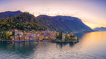 Aerial view of autumn sunrise over Varenna old town on shores of Lake Como, Lecco province, Lombardy, Italian Lakes, Italy, Europe