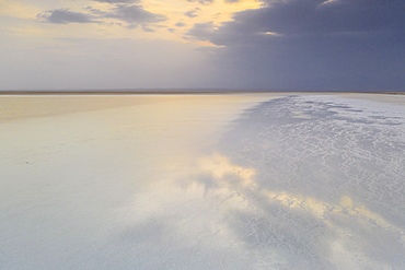 Lake Karum salt desert at sunset, Dallol, Danakil Depression, Afar Region, Ethiopia, Africa