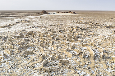 Blocks of salt extracted by miners in the Ahmed Ela Salt Plain, Dallol, Danakil Depression, Afar Region, Ethiopia, Africa