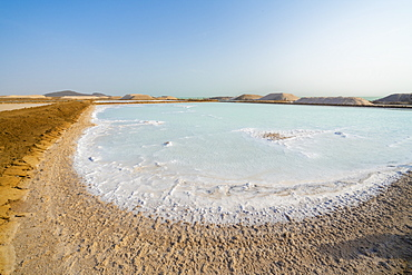 Salt deposit on water surface of Lake Afrera (Lake Afdera), Danakil Depression, Afar Region, Ethiopia, Africa