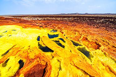 Sulfuric acid hot springs, Dallol, Danakil Depression, Afar Region, Ethiopia, Africa
