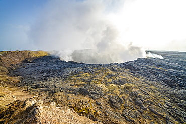 Smoke emission out of Erta Ale volcano caldera, Danakil Depression, Afar Region, Ethiopia, Africa