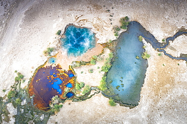 Aerial view by drone of steam of Ala Lobet (Alol Bet) geyser from above, Semera, Afar Region, Ethiopia, Africa