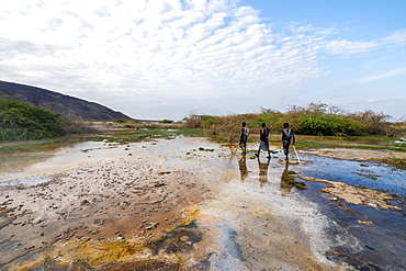 Afar men walking towards Ala Lobet (Alol Bet) geyser, Semera, Afar Region, Ethiopia, Africa