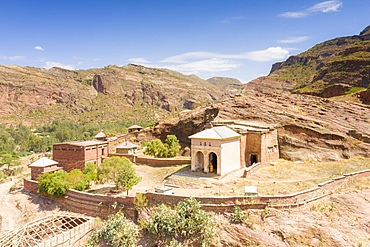 Orthodox old church of Abreha We Atsbeha built on the mountainside, Tigray Region, Ethiopia, Africa