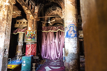 Frescoes and paintings on pillars inside Abreha We Atsbeha church, Tigray Region, Ethiopia, Africa
