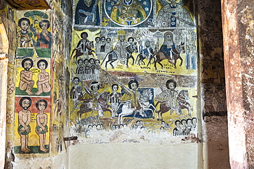 Fresco paintings in Abreha We Atsbeha church, Tigray Region, Ethiopia, Africa