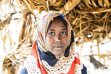 Portrait of woman wearing Muslim traditional Hijab, Melabday, Asso Bhole, Danakil Depression, Afar Region, Ethiopia, Africa