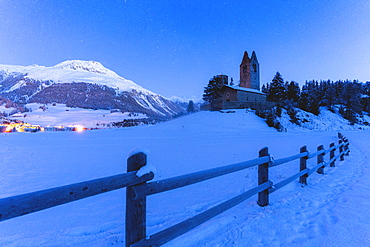 Church of San Gian with the snowy peaks in background, Celerina, St. Moritz, Engadine, canton of Graubunden, Switzerland, Europe