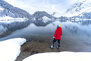 Man standing on shores of Lake Cavloc admiring the snowy woods, Bregaglia Valley, Engadine, canton of Graubunden, Switzerland, Europe