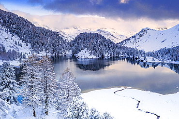 Sunrise over Lake Cavloc after a snowfall, Bregaglia Valley, Engadine, canton of Graubunden, Switzerland, Europe