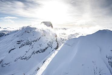 Aerial view of Punta Penia and west ridge of Marmolada in winter, Dolomites, Trentino-Alto Adige, Italy, Europe