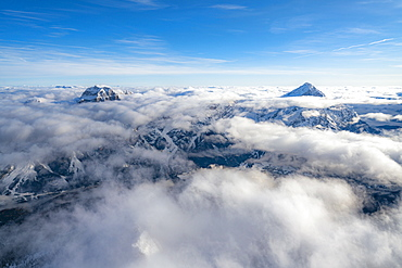 Sorapis group and Antelao emerging from clouds, aerial view, Dolomites, Belluno province, Veneto, Italy, Europe