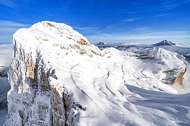 Monte Pelmo after a snowfall, aerial view, Dolomites, Belluno province, Veneto, Italy, Europe