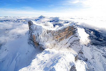 Aerial view of Monte Pelmo in winter, Dolomites, Belluno province, Veneto, Italy, Europe