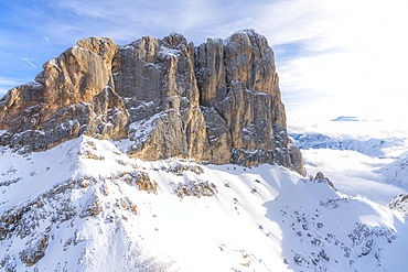 Aerial view of west ridge and south face of Punta Penia in winter, Dolomites, Trentino-Alto Adige, Italy, Europe